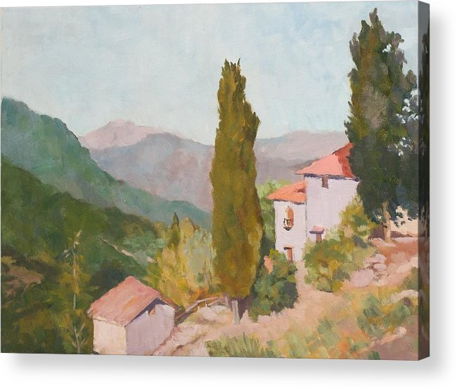 Landscape Acrylic Print featuring the painting Italian Villa by Fay Terry