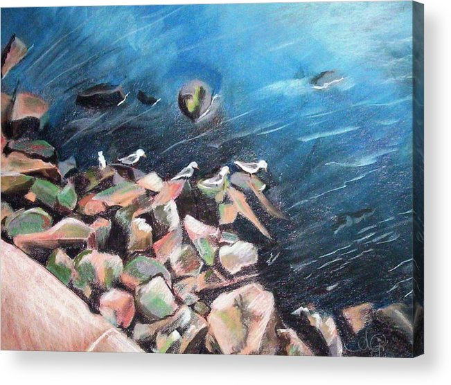 Angela Mustin Acrylic Print featuring the pastel Nybirdsnfeb by Angela Mustin