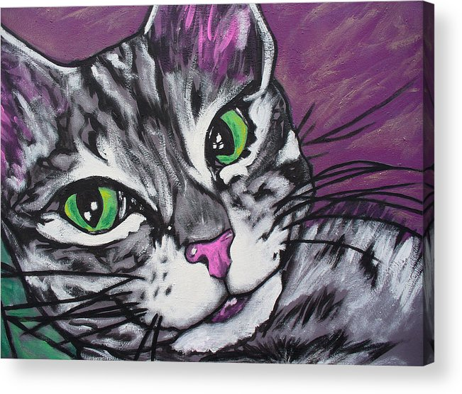 Cat Acrylic Print featuring the painting Purple Tabby by Sarah Crumpler