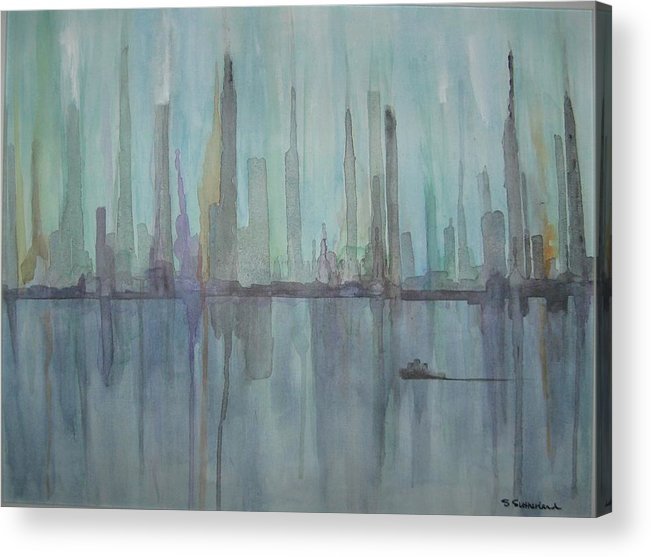 Blue City Skyline Acrylic Print featuring the painting Skyline by Sheryl Sutherland