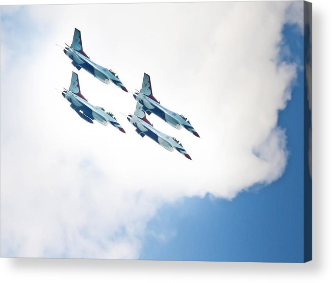United States Air Force Thunderbirds Air Show Acrylic Print featuring the photograph Thunderbirds Dive by Joseph Semary