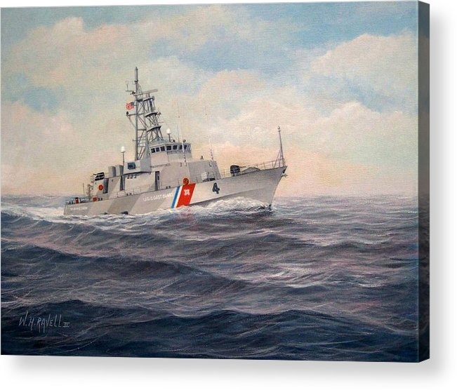 Coast Guard Acrylic Print featuring the painting U. S. Coast Guard Cutter Monsoon by William H RaVell III