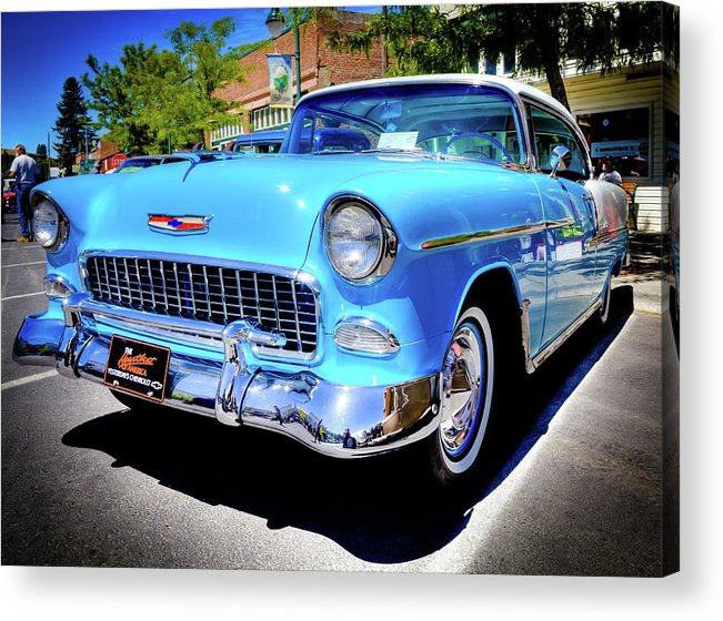 1955 Chevy Baby Blue Acrylic Print featuring the photograph 1955 Chevy Baby Blue by David Patterson