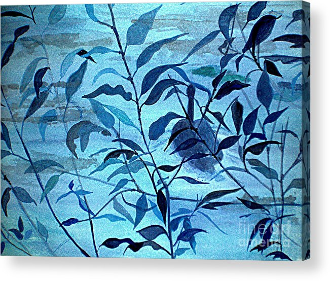 Blue Acrylic Print featuring the painting Blue On Blue by Vivian Mosley