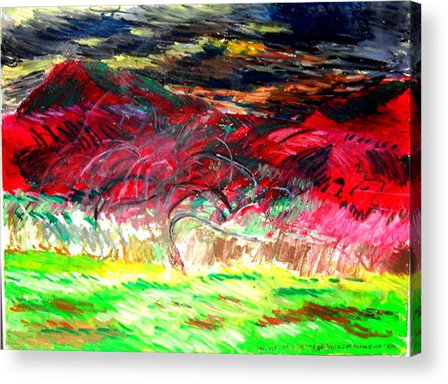 Landscape Acrylic Print featuring the drawing Mt. Norwottuck And Apple Trees by Lorna Ritz