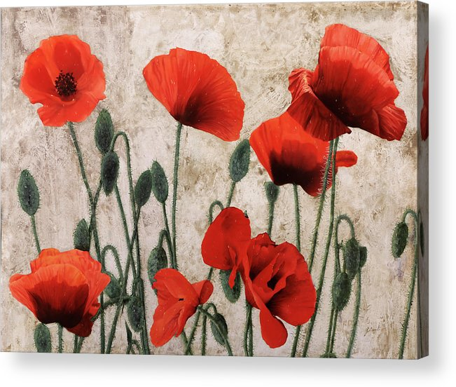 Poppies Acrylic Print featuring the painting 7papaveri7 by Guido Borelli