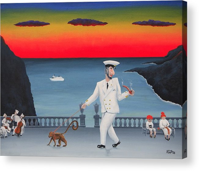 Landscape Captain Monkey Orchestra Jazz Childhood South Tropical Island Cruise Ship Wacation Resort Acrylic Print featuring the painting A Captain And His Monkey by Poul Costinsky