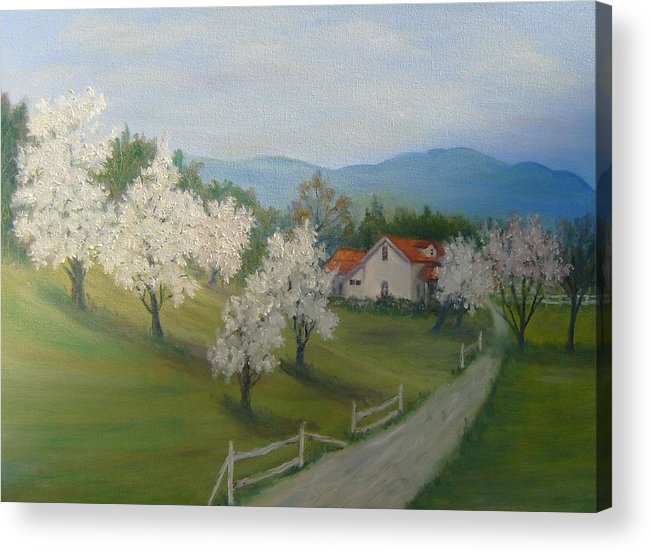 Landscape; Spring; Mountains; Country Road; House Acrylic Print featuring the painting A Day In The Country by Ben Kiger