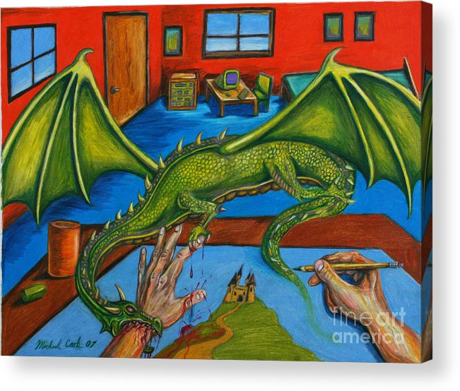 Dragon Fantasy Surreal Acrylic Print featuring the drawing A Drawing With Bite by Michael Cook