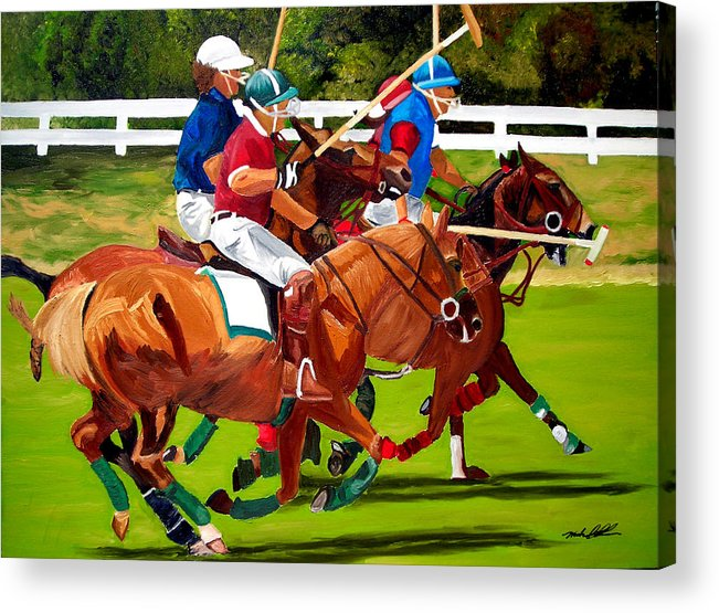 Polo Acrylic Print featuring the painting A Game Of Polo by Michael Lee