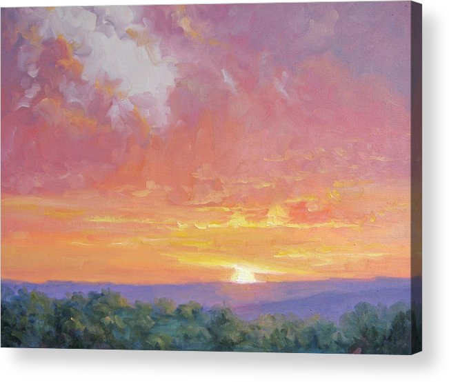Sunrise Acrylic Print featuring the painting A New Dawn by Bunny Oliver