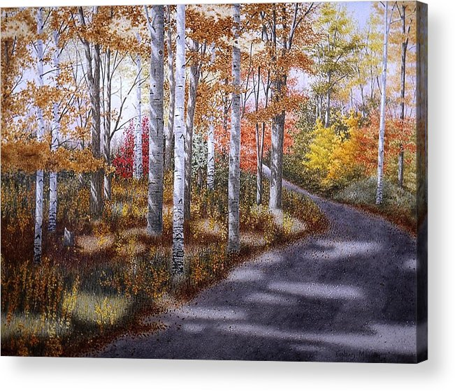 Country Road Acrylic Print featuring the painting A Sunny Autumn Day by Conrad Mieschke