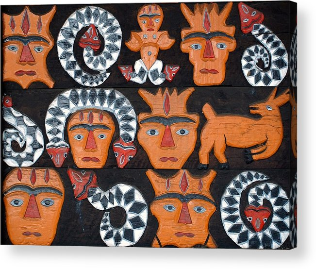 Indigenous Acrylic Print featuring the photograph Aboriginal Painted Wood Carvings by Yali Shi