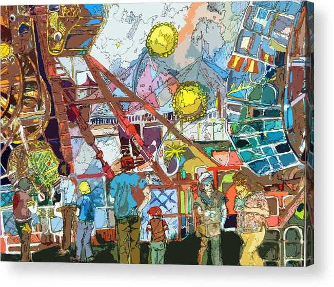 Amusement Acrylic Print featuring the painting Abstract Amusement Park by Mindy Newman