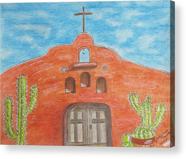 Adobe Acrylic Print featuring the painting Adobe Church And Cactus by Kathy Marrs Chandler