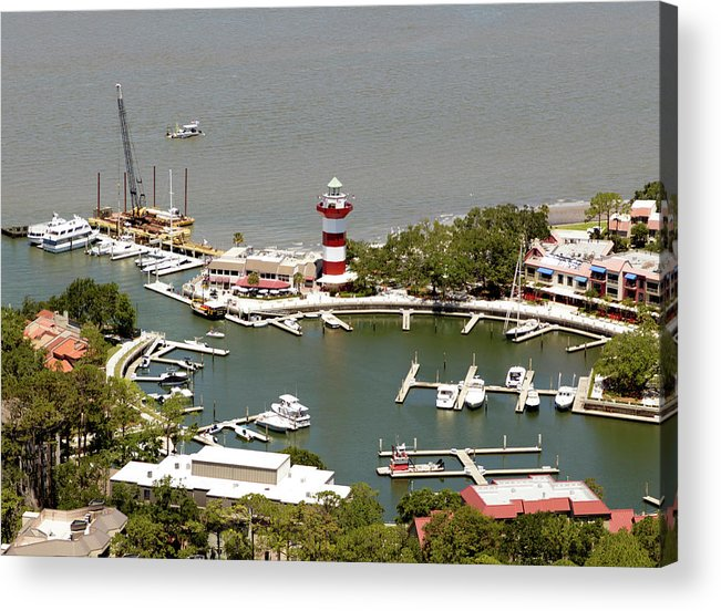 Aerial View Harbour Town Lighthouse In Hilton Head Island Acrylic Print featuring the photograph Aerial View Harbour Town Lighthouse In Hilton Head Island by Carol Highsmith