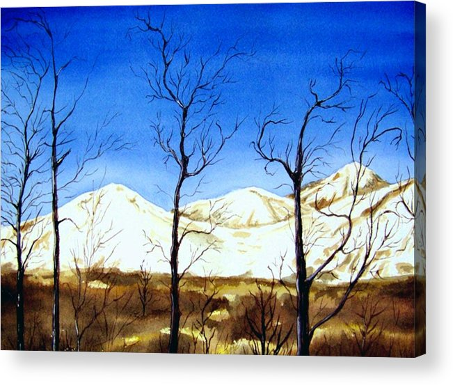 Landscape Acrylic Print featuring the painting Alaska Blue Sky Day by Brenda Owen