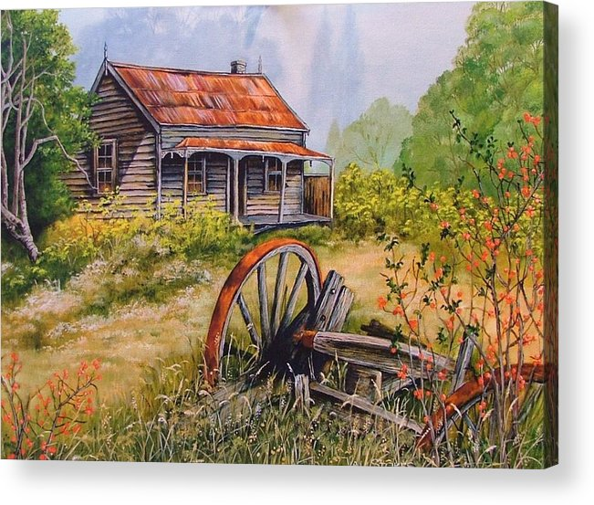 Rustic Acrylic Print featuring the painting All That Remains by Val Stokes