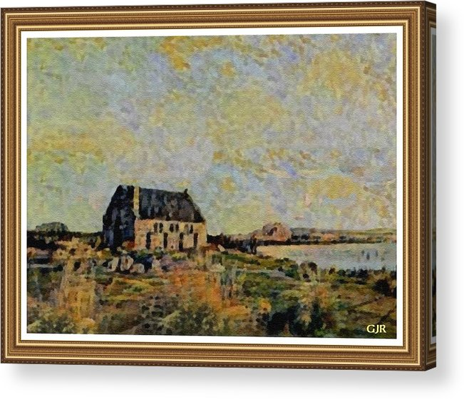Amsterdam Acrylic Print featuring the digital art An Old Scottish Cottage Overlooking A Loch L A S With Decorative Ornate Printed Frame. by Gert J Rheeders