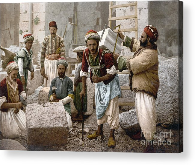 1900 Acrylic Print featuring the photograph Arab Stonemasons, C1900 - To License For Professional Use Visit Granger.com by Granger