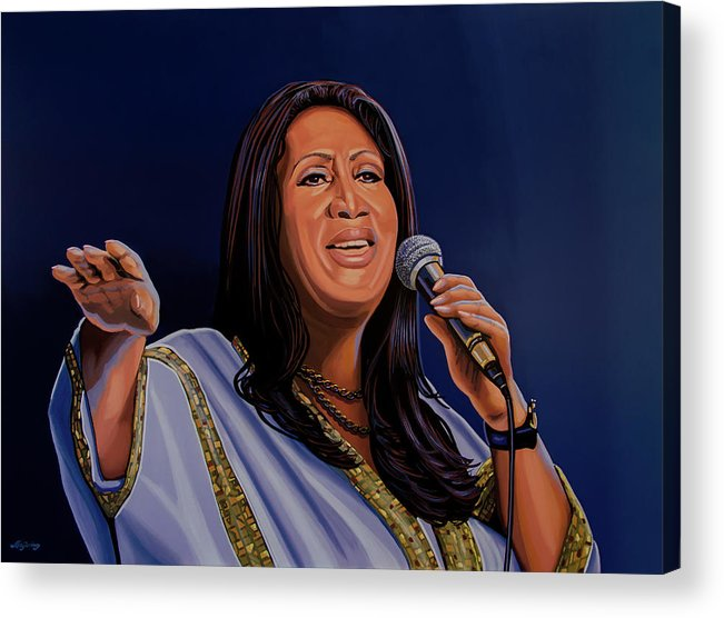 Aretha Franklin Acrylic Print featuring the painting Aretha Franklin Painting by Paul Meijering