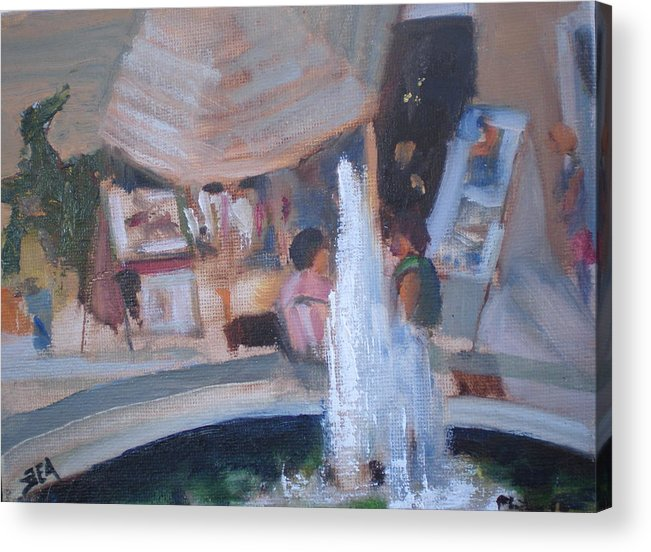 Carlsbad Village Fountain Acrylic Print featuring the painting Art Faire by Bryan Alexander