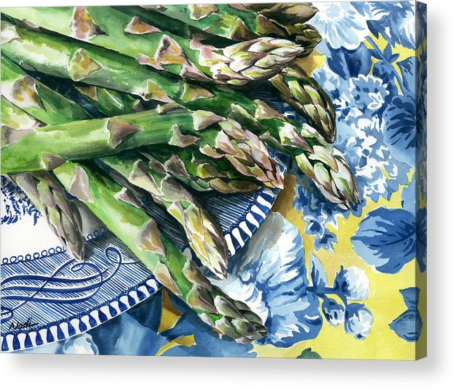 Food Acrylic Print featuring the painting Asparagus by Nadi Spencer