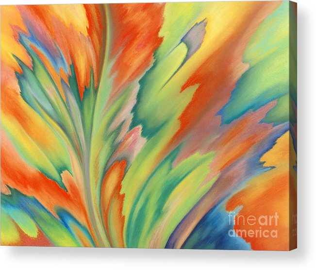 Abstract Acrylic Print featuring the painting Autumn Flame by Lucy Arnold