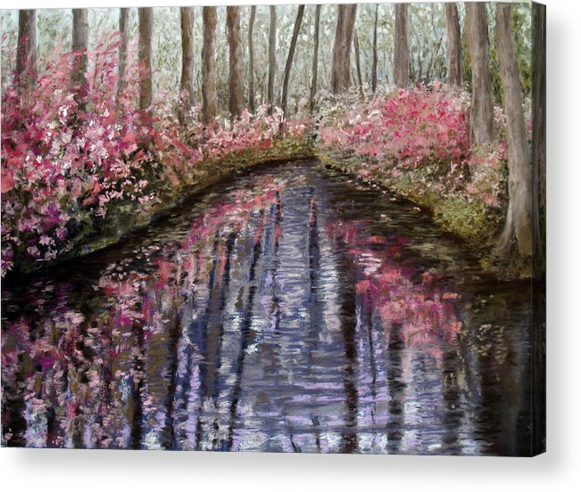 Landscape Acrylic Print featuring the painting Azalea River by Susan Jenkins