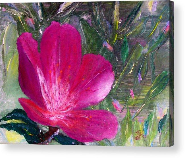 Flower Acrylic Print featuring the painting Azalea by Tony Rodriguez