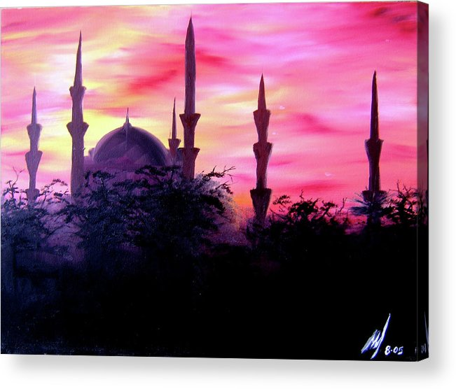 Painting Acrylic Print featuring the painting Baghdad Sunset by Michael McKenzie