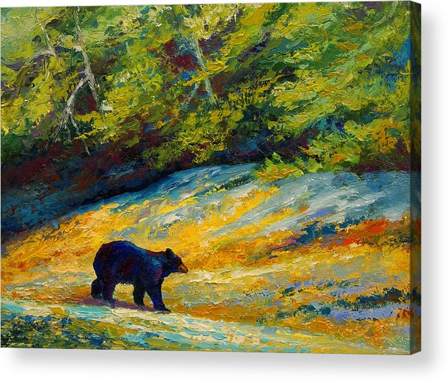 Bear Acrylic Print featuring the painting Beach Lunch - Black Bear by Marion Rose