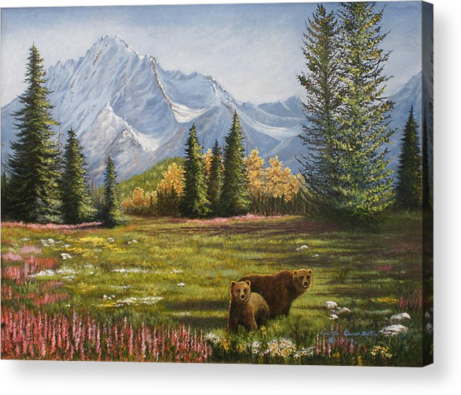 Landscape Acrylic Print featuring the painting Bear Country by Lucille Owen-Huston