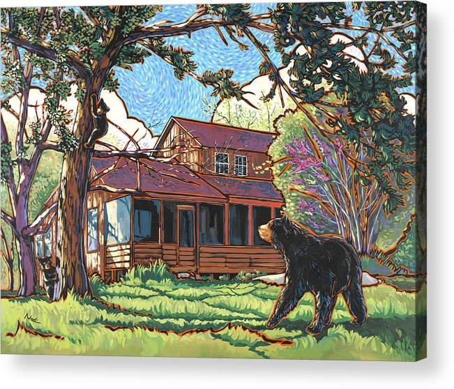 Bear Acrylic Print featuring the painting Bears At Barton Cabin by Nadi Spencer