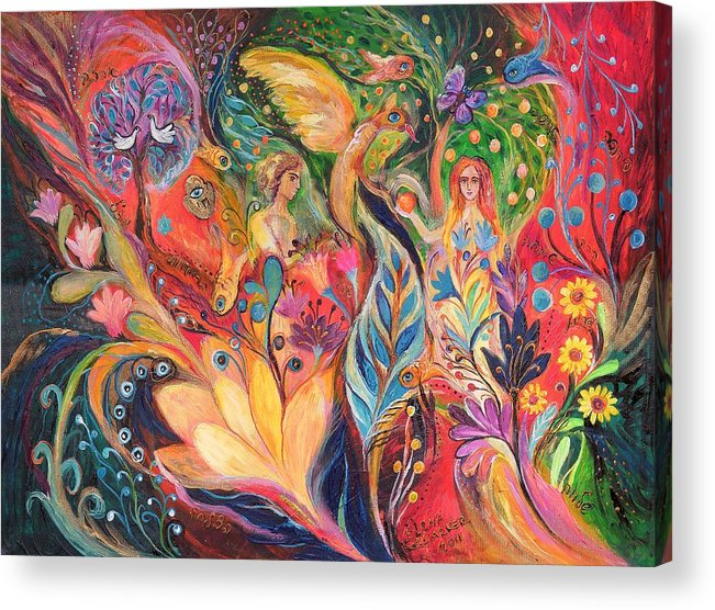 Original Acrylic Print featuring the painting Before The First Sin by Elena Kotliarker