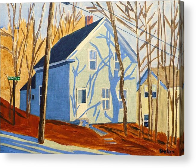 Landscape Acrylic Print featuring the painting Bennett Street Houses by Laurie Breton