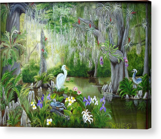 Florida Acrylic Print featuring the painting Blooming Swamp by Darlene Green