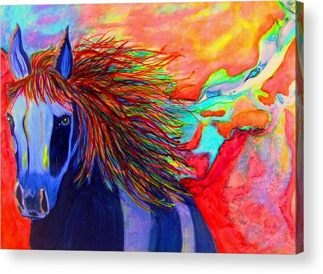 Horses Acrylic Print featuring the painting Blue Horse In Red Canyon by Liz Borkhuis