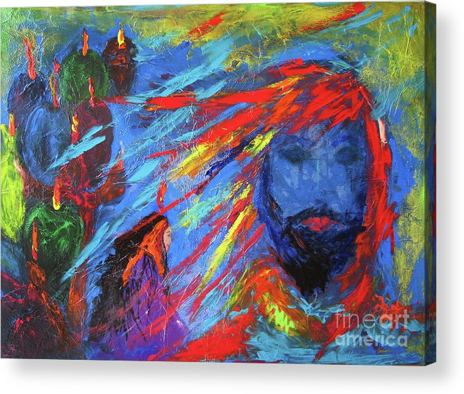 Blue Waiting Acrylic Print featuring the painting Blue Waiting by Deborah Montana