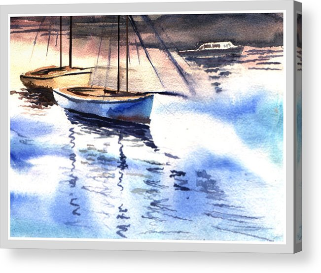 Watercolor Acrylic Print featuring the painting Boat And The River by Anil Nene