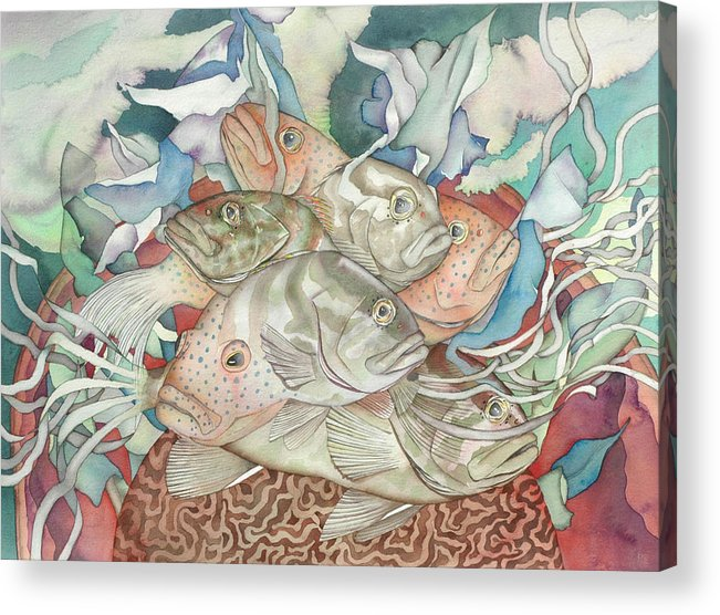 Fish Acrylic Print featuring the painting Brain Coral Party by Liduine Bekman