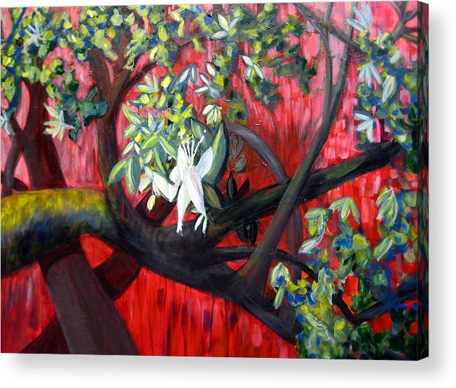 Branch Acrylic Print featuring the painting Branch In The Red by Rebecca Merola