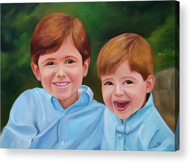 Children Acrylic Print featuring the painting Brothers by Anne Cameron Cutri