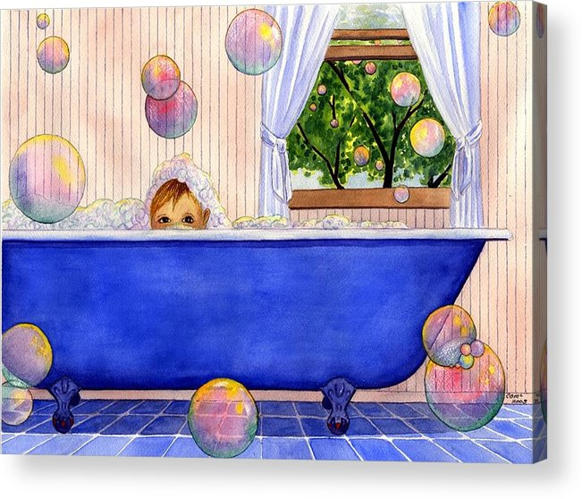 Bath Acrylic Print featuring the painting Bubbles by Catherine G McElroy