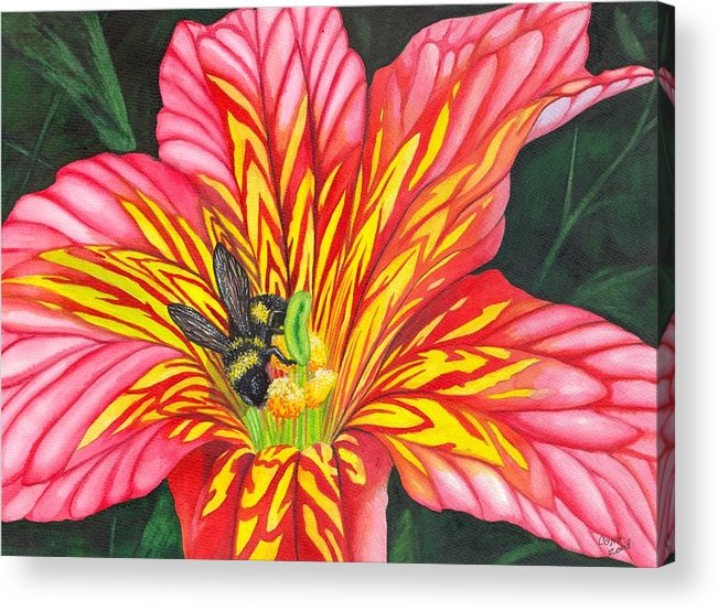 Bee Acrylic Print featuring the painting Bumble Bee by Catherine G McElroy