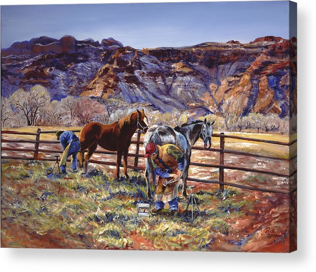 Horse Acrylic Print featuring the painting Butch And Clayton Swapping Shoes And Tales by Page Holland