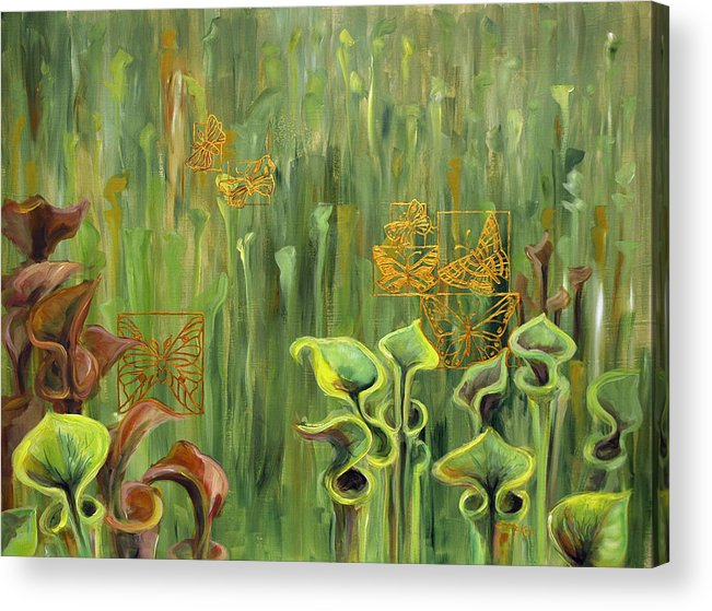 Acrylic Acrylic Print featuring the painting Butterflies In The Bog by Suzanne McKee