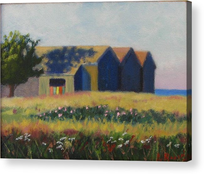 Cabanas Acrylic Print featuring the painting Cabanas At Jetty Beach by Laura Roberts