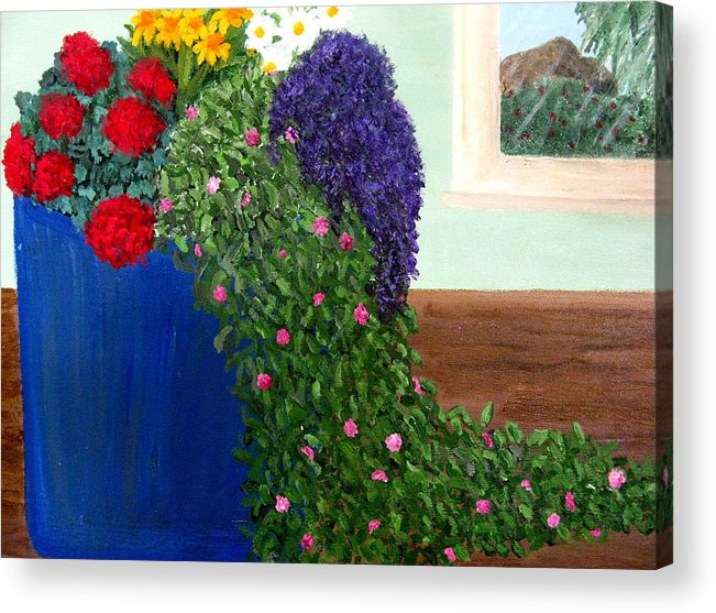 Flowers Acrylic Print featuring the painting Cascading Flowers by Becky Giovine