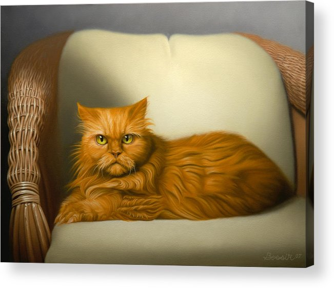 Cats Acrylic Print featuring the painting Cat Portrait Of Tosca by Eric Bossik